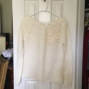 "Pretty Cream ""Mohair Like"" Embellished Sweater"